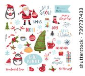 set of christmas elements.... | Shutterstock .eps vector #739737433