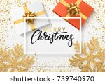 christmas background with gifts ... | Shutterstock .eps vector #739740970