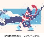 santa claus coming back from... | Shutterstock .eps vector #739742548