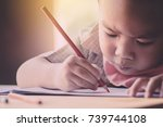 Small photo of boy intend to drawing and painting a picture with worm tone