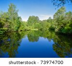 Landscape with trees, reflecting in the water - stock photo