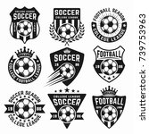 soccer set of black vector... | Shutterstock .eps vector #739753963