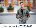 handsome smiling young man... | Shutterstock . vector #739754449