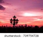 twilight sky with city building ... | Shutterstock . vector #739754728