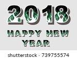 2018 happy new year flames...   Shutterstock .eps vector #739755574