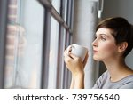profile portrait of young... | Shutterstock . vector #739756540