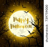 halloween greeting card with... | Shutterstock .eps vector #739759000
