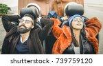 fashion hipster boyfriend and...   Shutterstock . vector #739759120