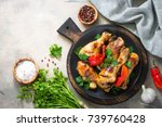 grilled chicken drumsticks in... | Shutterstock . vector #739760428