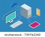 cloud computing concept. flat... | Shutterstock .eps vector #739762240