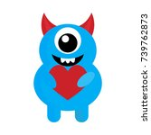cute monster with red heart... | Shutterstock .eps vector #739762873