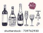 wine still life. wine making... | Shutterstock .eps vector #739762930