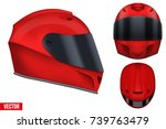 Set Of Red Motor Racing Helmet...