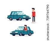 cool flat vector character... | Shutterstock .eps vector #739764790