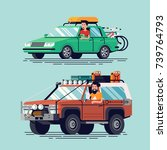 vector travel cars with drivers.... | Shutterstock .eps vector #739764793