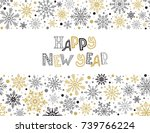 happy new year greeting card... | Shutterstock .eps vector #739766224