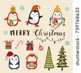 vector set of christmas... | Shutterstock .eps vector #739768633