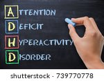 Small photo of ADHD – attention deficit hyperactivity disorder handwritten by woman on blackboard