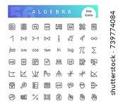 set of 56 algebra line icons...