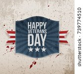 happy veterans day holiday sign | Shutterstock .eps vector #739774510
