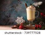 traditional winter eggnog in... | Shutterstock . vector #739777528