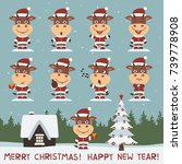 merry christmas and happy new... | Shutterstock .eps vector #739778908