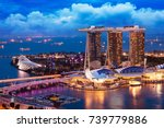 singapore cityscape at dusk.... | Shutterstock . vector #739779886