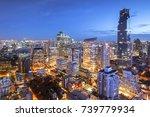 bangkok cityscape at dusk.... | Shutterstock . vector #739779934