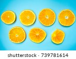 circles of orange on a colorful ... | Shutterstock . vector #739781614