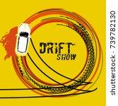 drifting car top view.... | Shutterstock .eps vector #739782130