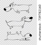 cute outlined black dachshund... | Shutterstock .eps vector #739782160
