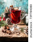 hot mulled wine drink with... | Shutterstock . vector #739784080