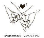 couple in love hold hands... | Shutterstock . vector #739784443