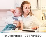 female is working with a... | Shutterstock . vector #739784890