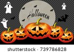 halloween party invitation with ... | Shutterstock .eps vector #739786828