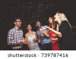 group of people having a party... | Shutterstock . vector #739787416