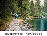 people walking through the... | Shutterstock . vector #739789168
