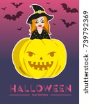 halloween girl   Shutterstock .eps vector #739792369