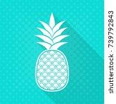 white vector pineapple flat... | Shutterstock .eps vector #739792843