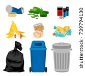 trash set with garbage bins.... | Shutterstock .eps vector #739794130