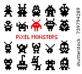 pixel space monsters. vintage... | Shutterstock .eps vector #739794289