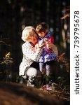 grandmother and granddaughter... | Shutterstock . vector #739795678