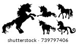 vector  unicorn silhouette set | Shutterstock .eps vector #739797406
