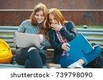 college students internet... | Shutterstock . vector #739798090