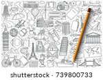 hand drawn set of travel vector ...   Shutterstock .eps vector #739800733