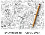 Hand drawn vector set of finance doodles | Shutterstock vector #739801984