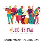 musicians silhouettes. colorful ... | Shutterstock .eps vector #739802224