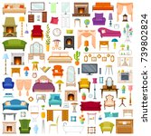 vector set of furniture in flat ... | Shutterstock .eps vector #739802824