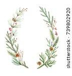 watercolor christmas wreath... | Shutterstock . vector #739802920