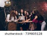 beautiful girls celebrate new... | Shutterstock . vector #739805128